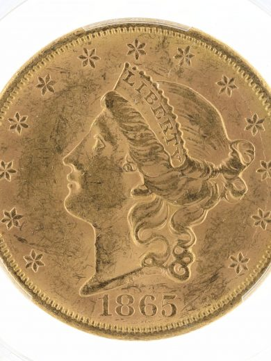 1865-S Double Eagle PCGS MS61 $20 obv-zm