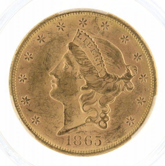 1865-S Double Eagle PCGS MS61 $20 obv-zm
