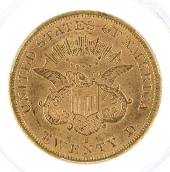 1865-S Double Eagle PCGS MS61 $20 rev-zm