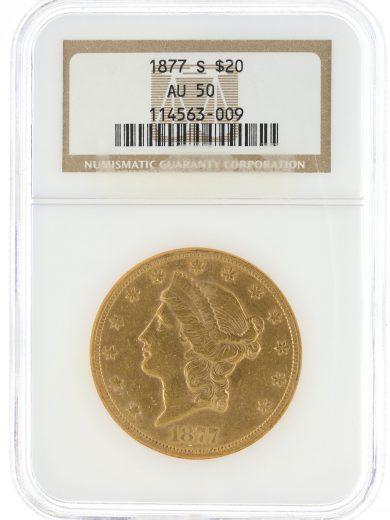 1877-S Double Eagle NGC AU50 $20 63009 obv