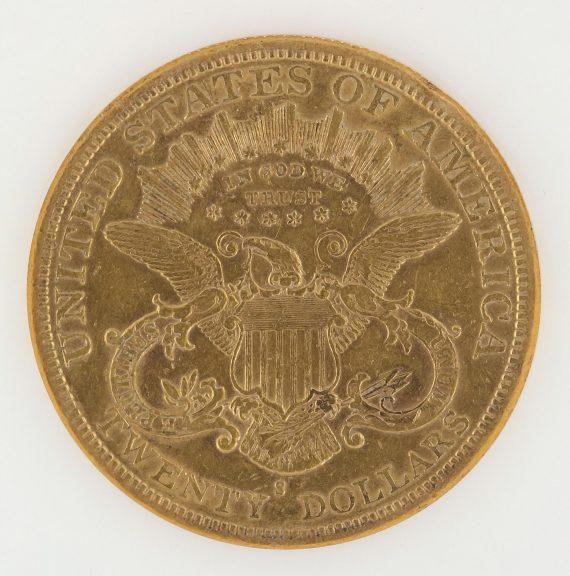 1877-S Double Eagle NGC AU50 $20 63009 rev-zm