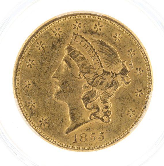 1855 Double Eagle PCGS AU58 $20 68094 obv