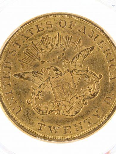 1855 Double Eagle PCGS AU58 $20 68094 rev-zm