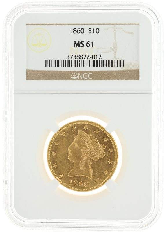 1860 Gold Eagle NGC MS61 $10 72012 obv