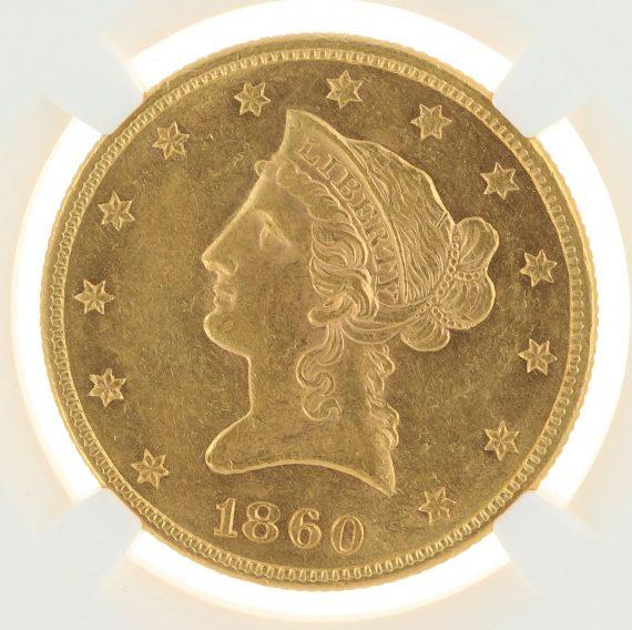 1860 Gold Eagle NGC MS61 $10 72012 obv-zm