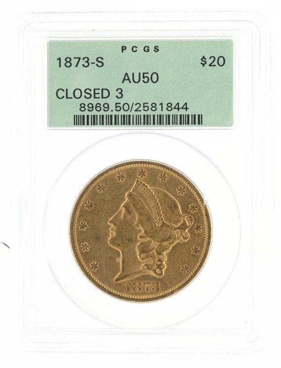 1873-S Double Eagle Closed 3 PCGS AU50 $20 81844 obv