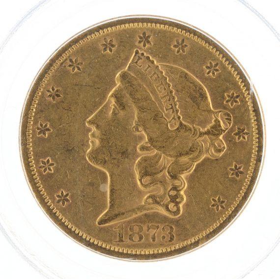 1873-S Double Eagle Closed 3 PCGS AU50 $20 81844 obv-zm