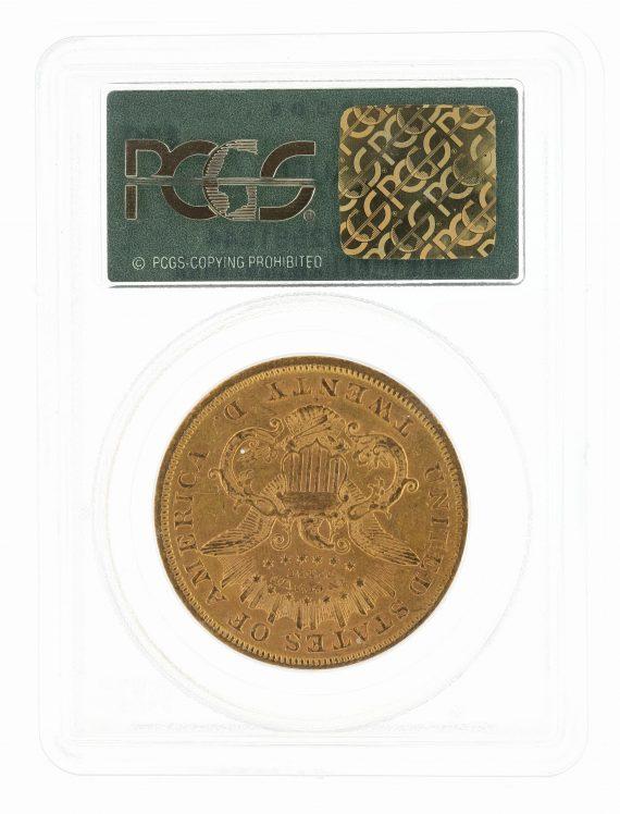 1873-S Double Eagle Closed 3 PCGS AU50 $20 81844 rev