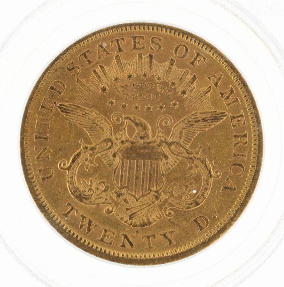 1873-S Double Eagle Closed 3 PCGS AU50 $20 81844 rev-zm