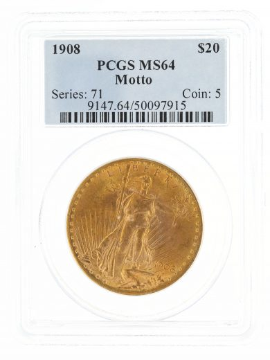 1908 Motto PCGS MS64 $20 97915 obv