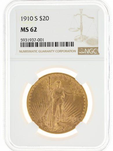 1910-S Saint Gaudens NGC MS62 $20 obv