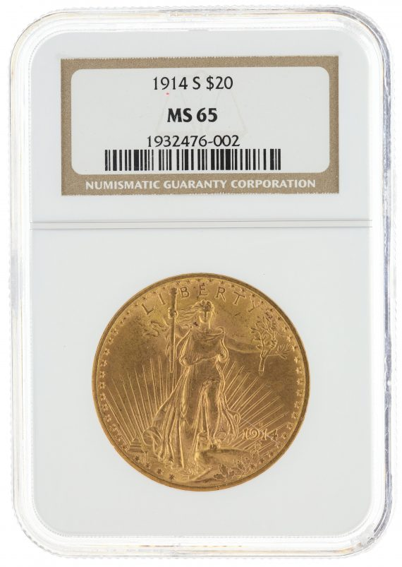 1914-S Saint Gaudens NGC MS65 $20 76002 obv