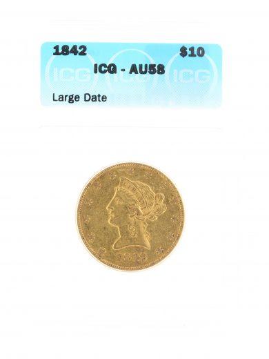 1842 Gold Eagle ICG AU58 Large Date $5