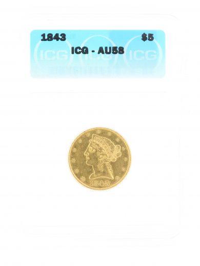 1843 Half Eagle ICG AU58 $5