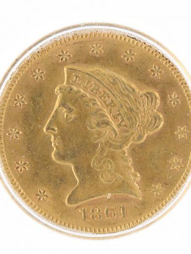 1861 Quarter Eagle ICG MS63 $2.50 Liberty Head New Revolution