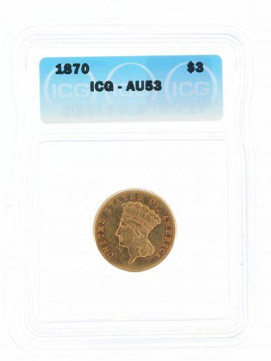 1870 Three Dollar ICG AU53 $3 obv
