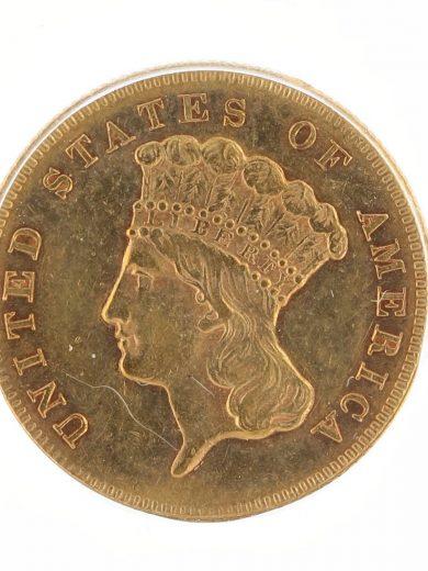 1870 Three Dollar ICG AU53 $3 obv-zm