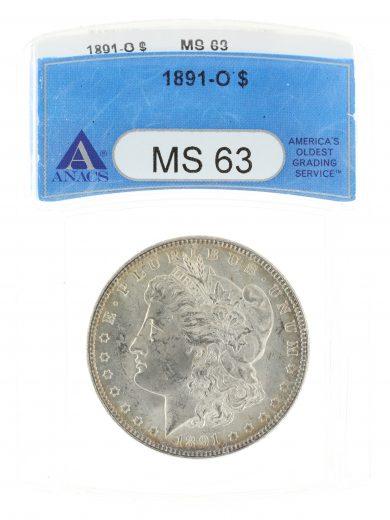 1891-O Morgan Dollar ANACS MS63 S$1