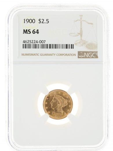 1900 NGC Quarter Eagle MS64 $2.5