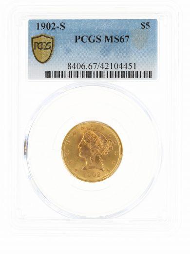 1902-S Half Eagle PCGS MS67 $5 104451 obv