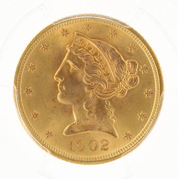 1902-S Half Eagle PCGS MS67 $5 104451 obv-zm