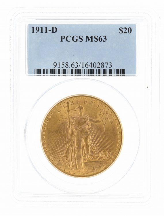 1911-D Saint Gaudens PCGS MS63 $20 02873 obv