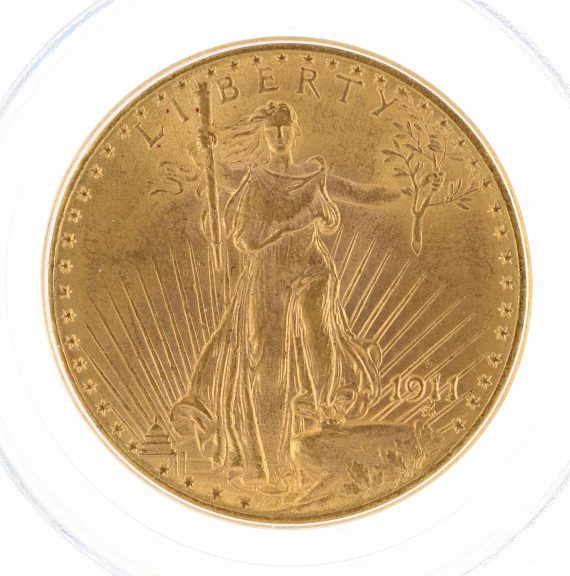 1911-D Saint Gaudens PCGS MS63 $20 02873 obv-zm