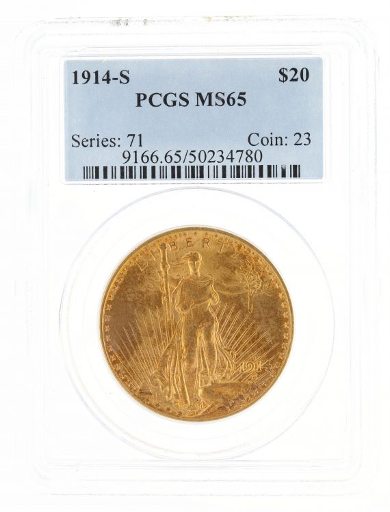1914-S Saint Gaudens PCGS MS63 $20 34780 obv
