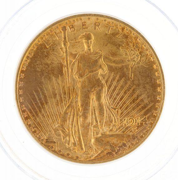1914-S Saint Gaudens PCGS MS63 $20 34780 obv-zm
