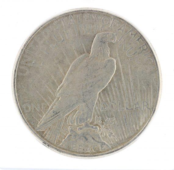 1922-S Peace Dollar AU53 Struck Thru ICG S$1