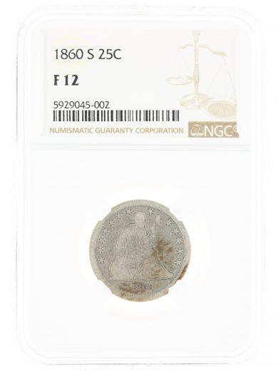 1860-S Seated Liberty F12 NGC 25C