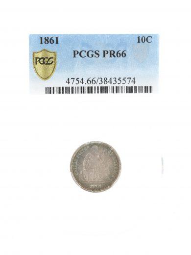 1861 Seated Liberty PR66 PCGS 10C